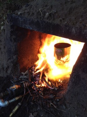Burner catching fire and preheating/oxidizing the crucible